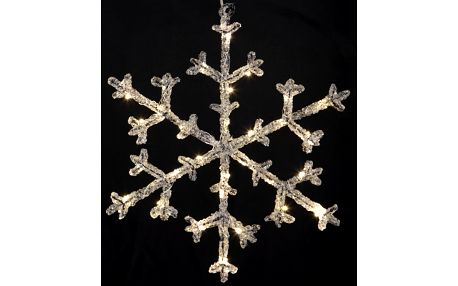 STAR TRADING Dekorativní svítící vločka Icy 30 cm, čirá barva, plast