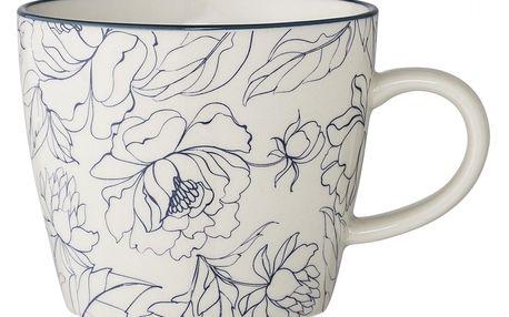 Bloomingville Keramický hrnek Fleur white, modrá barva, bílá barva, keramika