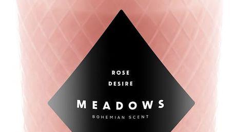 MEADOWS Luxusní vonná svíčka Rose Desire, růžová barva, sklo