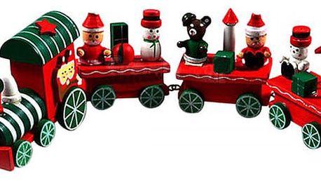 Vánoční dekorace - dřevěný vláček