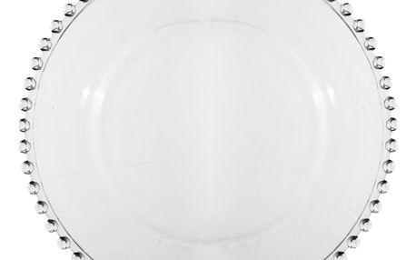 CÔTÉ TABLE Skleněný talíř Pearl 27 cm, čirá barva, sklo