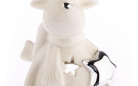 Vánoční keramický sob Kulička, bílá