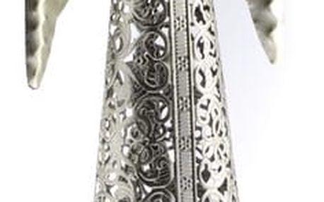 Vánoční Anděl se srdcem stříbrná, 49 cm