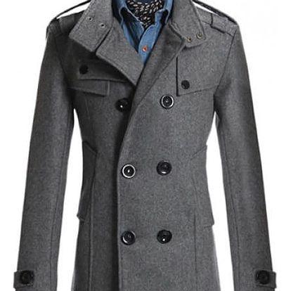 Elegantní pánský kabát Tobias - Šedá-M - dodání do 2 dnů