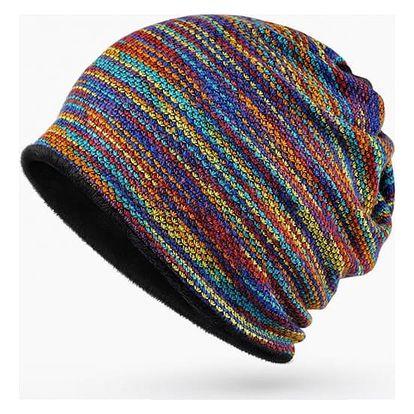 Pletený barevný kulich s kožíškem - 2 v 1