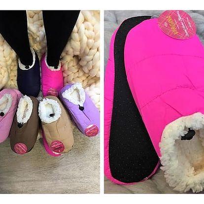 Šusťákové papuče s kožíškem