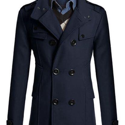 Elegantní pánský kabát Tobias - Modrá-L - dodání do 2 dnů