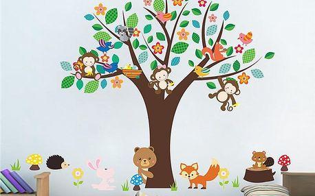 Strom s opičkami a zvířátky 150 x 110 cm