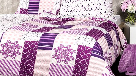 4Home Krepové povlečení Patchwork violet, 220 x 200 cm, 2 ks 70 x 90 cm