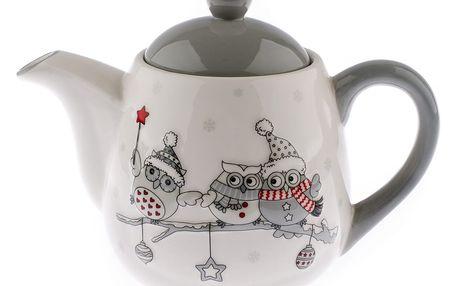 Keramická konvička na čaj Zimní sovičky, 900 ml