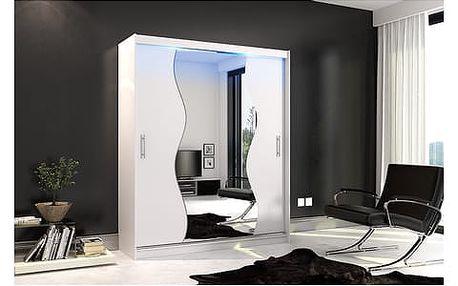 Kvalitní šatní skříň KOLA 10 bílá šířka 180 cm Bez LED osvětlení