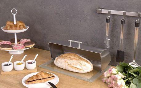 Kovový chlebnik se skleněnou základnou, ZELLER