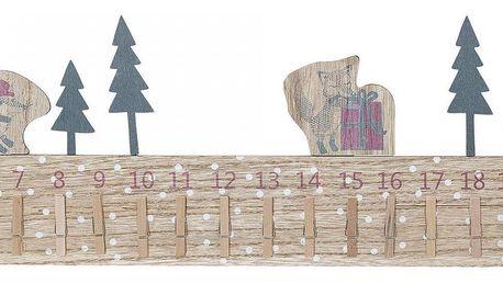 Bloomingville Dřevěný adventní kalendář se zvířátky Nature, hnědá barva, dřevo