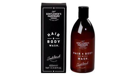 GENTLEMEN'S HARDWARE Pánský sprchový gel na tělo a vlasy Sandalwood 400 ml, černá barva, hnědá barva, plast, papír