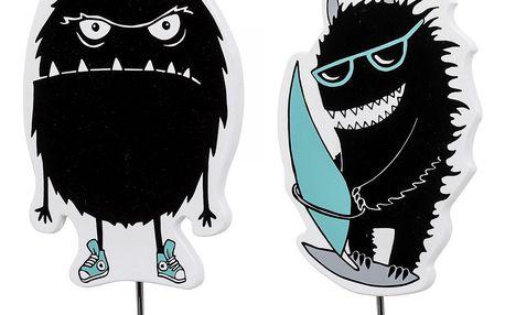 Bloomingville Dětský háček Monster Příšerka v teniskách, modrá barva, černá barva, kov, dřevotříska