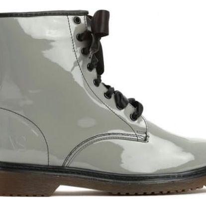 Dámské šedé lakované kotníkové boty Glance 6149