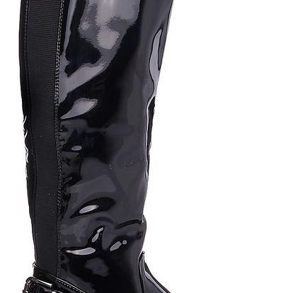 BEAUTY GIRL'S Lesklé černé kozačky W-90B Velikost: 37 (24 cm)