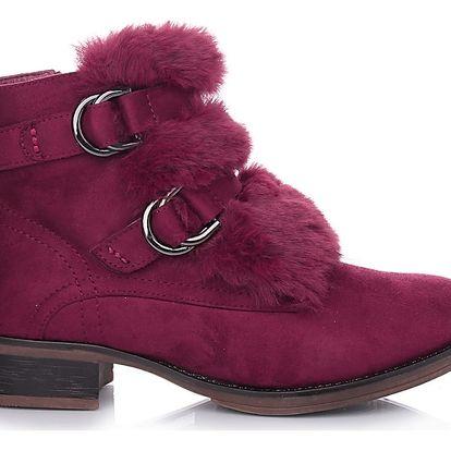 Desun Vínové boty s kožešinou SW6180WI Velikost: 39 (26 cm)