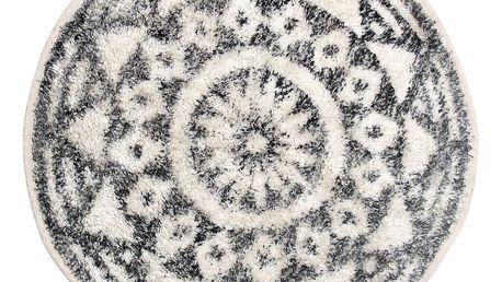 HK living Koupelnová předložka / kobereček Round Black 60cm, černá barva, bílá barva, textil
