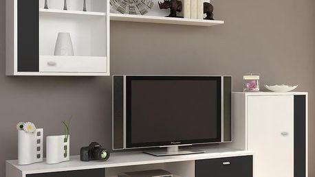 Obývací stěna GENTA bílá / černá Tempo Kondela