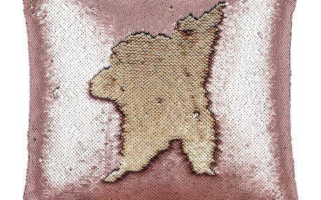 Koopman Polštářek s flitry růžová, 45 x 45 cm