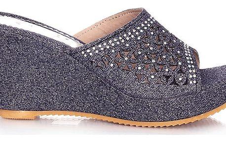 Prety Třpytivé pantofle na klínku CP22-3NA Velikost: 39 (25 cm)