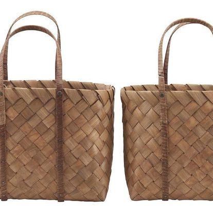 House Doctor Plážová taška Beach Bag Větší, hnědá barva, přírodní barva, dřevo