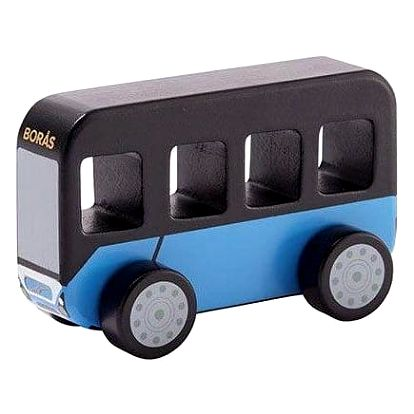 Kids Concept Dřevěný autobus Aiden Bus, modrá barva, černá barva, dřevo