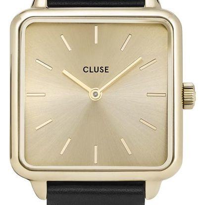 CLUSE Hodinky Cluse La Garconne Black/Gold, černá barva, zlatá barva, kov, textil