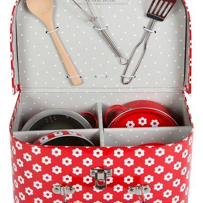 sass & belle Dětská mini kuchyňka v kufříku Red daisies, červená barva, kov, papír