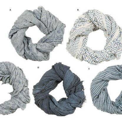 IB LAURSEN Bavlněný šátek Blue Combination Typ A, modrá barva, textil
