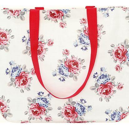 GREEN GATE Nákupní taška Hailey white, červená barva, plast