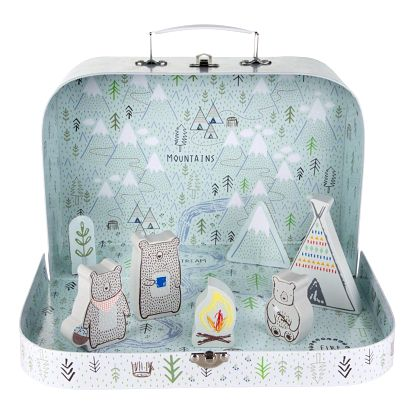 sass & belle Dětský kufřík Bear Camp Adventure, multi barva, dřevo, papír