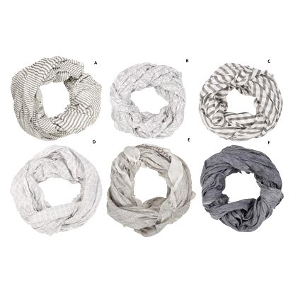 IB LAURSEN Bavlněný šátek Grey Pattern Vzor F, šedá barva, bílá barva, textil