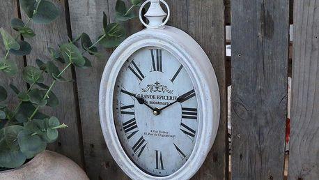 Chic Antique Nástěnné hodiny Oval Antique White, bílá barva, sklo, kov