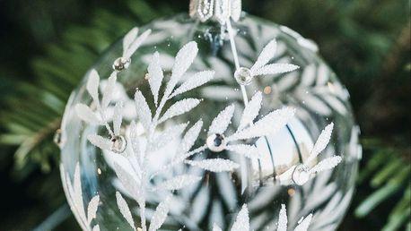 GLASSOR Vánoční baňka Leaves Clear - 8 cm, bílá barva, čirá barva, sklo