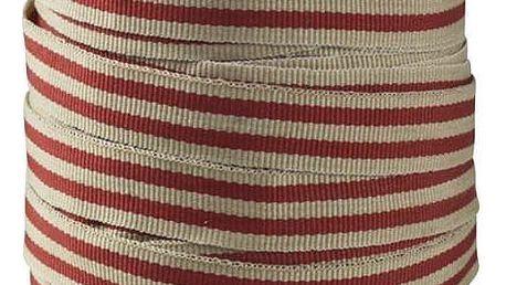 Chic Antique Bavlněná stuha se špulkou Red Stripes - 5m, červená barva, dřevo, textil