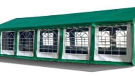 Párty stan Ohnivzdorný Premium 6 x 12 m | zeleno-bílá se zelenou střechou