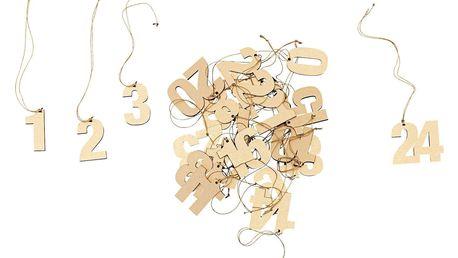 MONOGRAPH Adventní štítky s čísly Gold - 24ks, zlatá barva, dřevotříska
