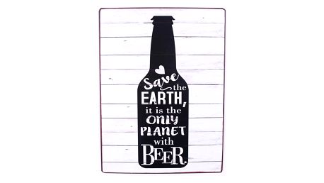 La finesse Plechová cedule Save the earth, černá barva, čirá barva, kov