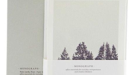 MONOGRAPH Přání s obálkami Winter - 8 ks, šedá barva, krémová barva, papír