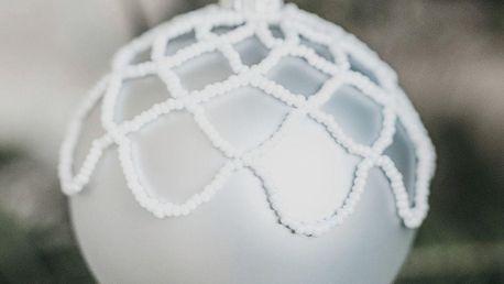 GLASSOR Vánoční baňka Small pearls Matt grey - 8 cm, šedá barva, sklo