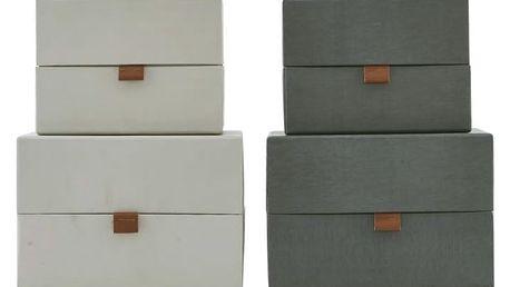 MONOGRAPH Úložný box Dark grey/Beige Béžový - menší, béžová barva, šedá barva, papír