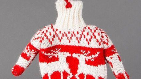 sass & belle Závěsná dekorace Christmas Jumper, červená barva, bílá barva, textil