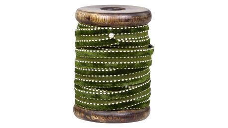 Chic Antique Sametová stuha se špulkou Olive Green - 5m, zelená barva, textil