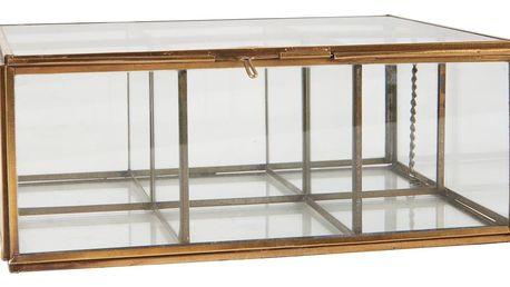 IB LAURSEN Skleněný box s přihrádkami, zlatá barva, sklo, kov