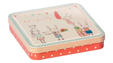 Maileg Kovová krabička Let's party Rose, růžová barva, krémová barva, kov