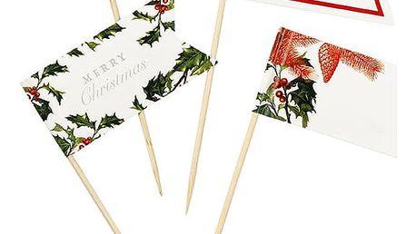 Talking Tables Vlaječky na jednohubky Merry Christmas, červená barva, zelená barva, papír