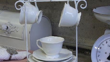 Chic Antique Stojánek na talířky a hrnečky Antique White, bílá barva, kov