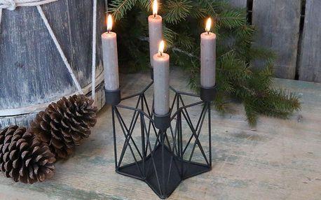 Chic Antique Adventní svícen Coal, černá barva, kov